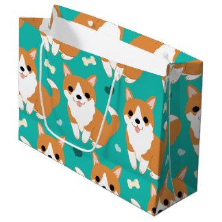 Patroon van de de hond eenvoudige illustratie van groot cadeauzakje