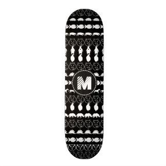 Patroon van de Dieren van het monogram het Zwarte Skateboard Decks