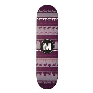 Patroon van de Dieren van het monogram Retro Persoonlijk Skateboard