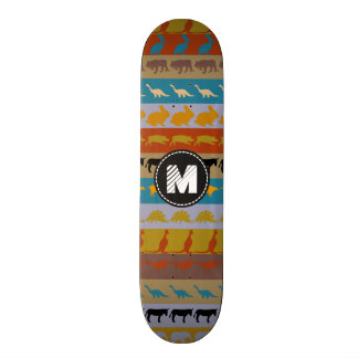 Patroon van de Dieren van het monogram Retro Skateboards