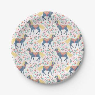 Patroon van de Paarden van de lente het Bloemen Papieren Bordje
