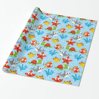 Patroon van de Vissen van de pret het Kleurrijke Cadeaupapier