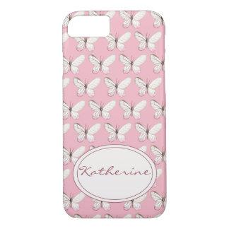 Patroon   van de Vlinder van de waterverf het Roze iPhone 8/7 Hoesje
