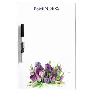 Patroon van de Waterverf van paarse Tulpen het Whiteboard