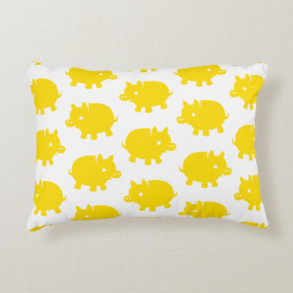 Patroon van Gele Varkens op een Witte Achtergrond Decoratief Kussen