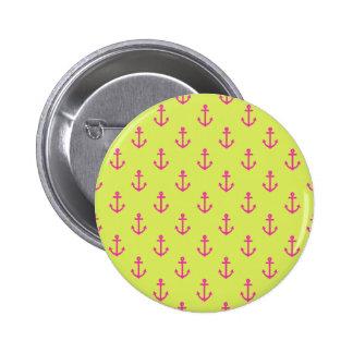 Patroon van het Anker van het limoen het Groene Ronde Button 5,7 Cm