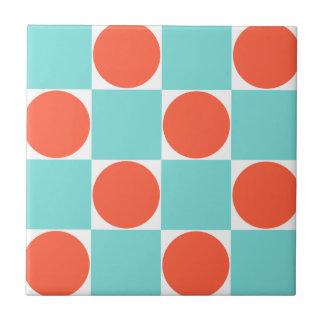 Patroon van het Blauwe & Oranje Stip van Aqua Tegeltje