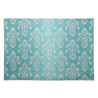 Patroon van het Damast van Aqua het Vintage Blauwg Placemat