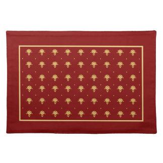 Patroon van het Damast van de luxe het Rode en Placemat