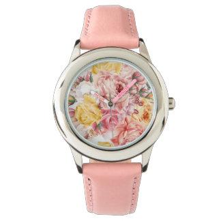 Patroon van het de vintage lente het bloemenboeket horloges