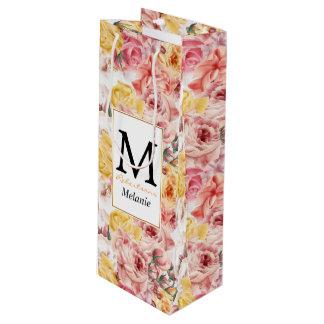 Patroon van het de vintage lente het bloemenboeket wijn cadeautas
