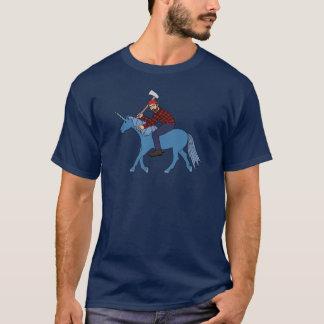 Paul Bunyan Riding Blue Unicorn T Shirt