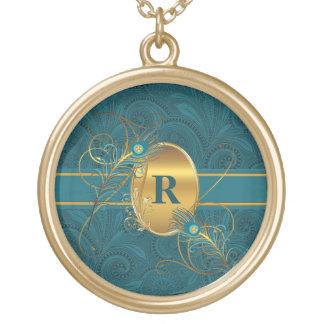 Pauw met monogram in Blauwgroen en Gouden Veren Goud Vergulden Ketting