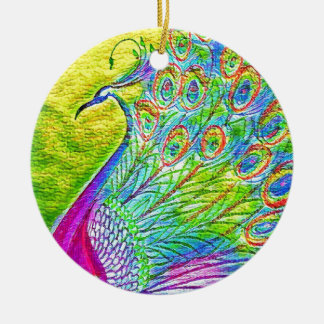 Pauw Rond Keramisch Ornament