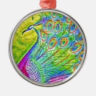 Pauw Zilverkleurig Rond Ornament