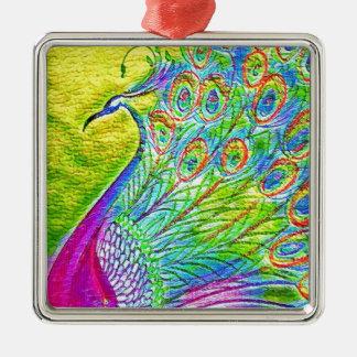 Pauw Zilverkleurig Vierkant Ornament