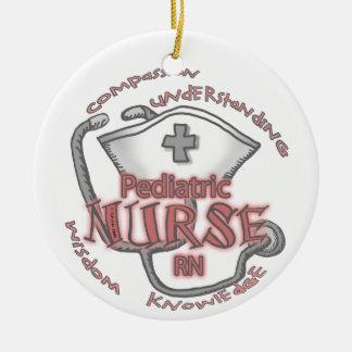 Pediatrische Verpleegster Rond Keramisch Ornament