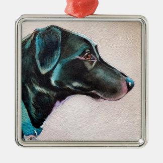 Peinzende Zwarte Hond Zilverkleurig Vierkant Ornament