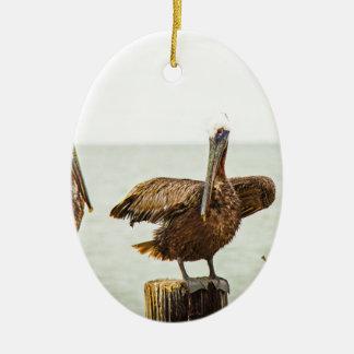 Pelikanen die op posten worden neergestreken keramisch ovaal ornament