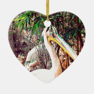 pelikanen keramisch hart ornament