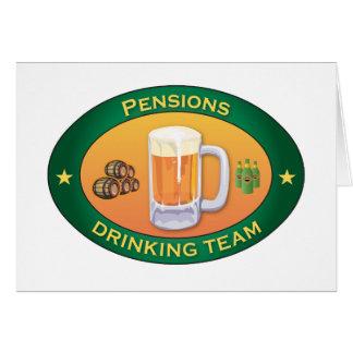 Pensioenen die Team drink Wenskaart