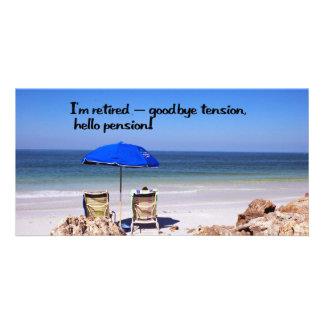 Pensionering en een pensioen fotokaart sjabloon