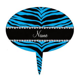 Personaliseer blauwe de tijgerstrepen van de cake topper