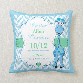 Personaliseer - de Blauwe Giraf van het Baby Sierkussen