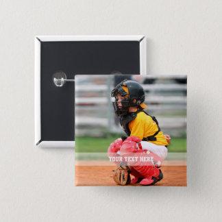Personaliseer de Foto van Sporten Vierkante Button 5,1 Cm