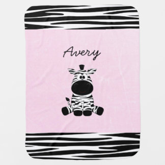 Personaliseer deze leuke Roze Gestreepte Deken Baby Dekentje