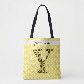 Personaliseer: Gewaagde Aanvankelijke Gele/Zwarte Draagtas