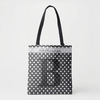 Personaliseer: Gewaagde Aanvankelijke Zwarte/Witte Draagtas