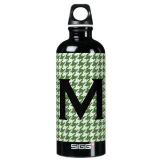 Personaliseer: Groen en Wit Patroon Houndstooth Aluminium Waterfles