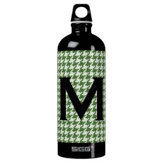 Personaliseer: Groen en Wit Patroon Houndstooth Waterfles