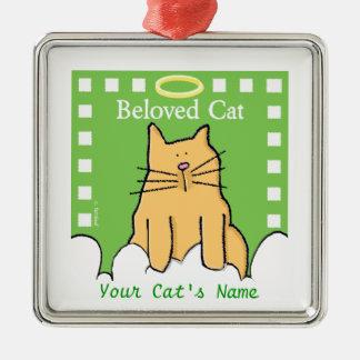 Personaliseer het Geliefde Gedenkteken van de Kat Zilverkleurig Vierkant Ornament