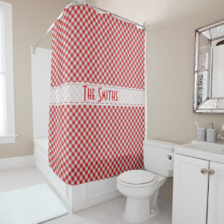 Personaliseer:  Het rode Diagonale Patroon van de Douchegordijn
