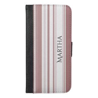 Personaliseer Schaduwen van het Gestreepte Patroon iPhone 6/6s Plus Portemonnee Hoesje