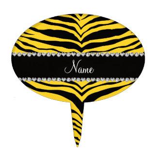 Personaliseer strepen van de naam de gele tijger taart prikker