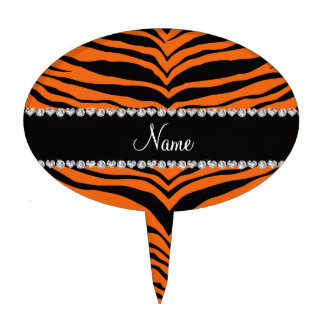 Personaliseer strepen van de naam de oranje tijger cake topper