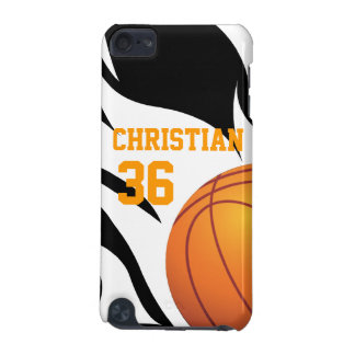 Personaliseer Vlammend Basketbal B/W iPod Touch 5G Hoesje
