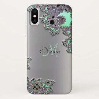 Personaliseer Zilveren MetaalFractal iPhone X iPhone X Hoesje
