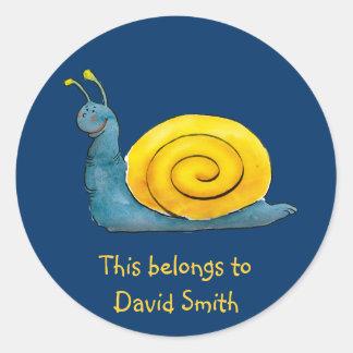 Personaliseerbare Gelukkige Slak | School Ronde Sticker