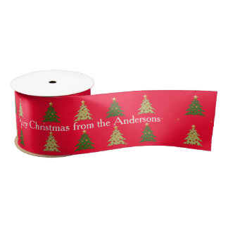 Personaliseerbare Kerstbomen op Rood Satijnen Lint