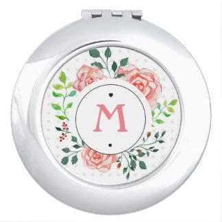Personaliseerbare Roze Bloemen nam Compacte Make-up Spiegel