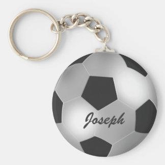Personaliseerbare Zilveren Voetbal Basic Ronde Button Sleutelhanger