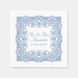 Personaliseert het Blauwe Patroon van de vintage Wegwerp Servetten