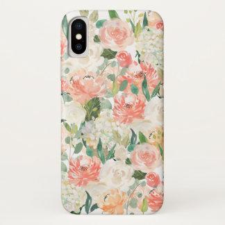 Perzik en Roze Vrouwelijke Waterverf Bloemen iPhone X Hoesje