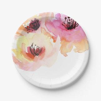 Perzik en Roze Waterverf Bloemen Papieren Bordje