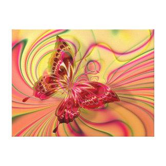 perzik rood vlinder verpakt canvas