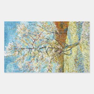 Perzikbomen in Bloesem Vincent van Gogh Rechthoekige Sticker